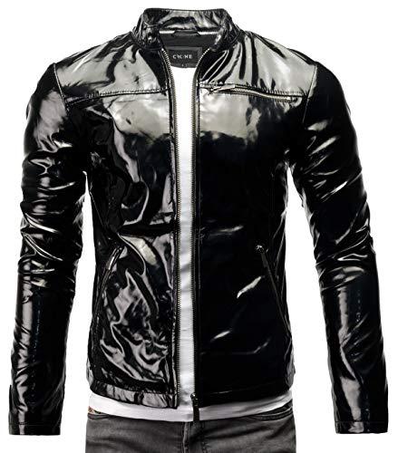 Crone Vego Herren Eco-Lederjacke Cleane Leichte Slim Fit Basic Jacke Vegan (L, Shiny Black (Ecoleder))