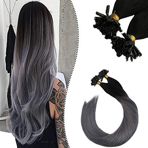 """Ugeat Hair Extensions Keratin Tip Bonding Set mit Haare 18\"""" U Tips Remy 100{a5a6bb6976d5430472e06f6220bf1b1479519e5e1812e1ed0a6fc8c736a44f30} Brasilianische Echthaaar Naturlich Schwarz Ombre Silber 50 Stuck 50 Gramm"""