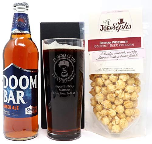 Personalised Pint Glass & Bottle of Doom Bar Amber Ale & Popcorn - Peaky Blinders Design