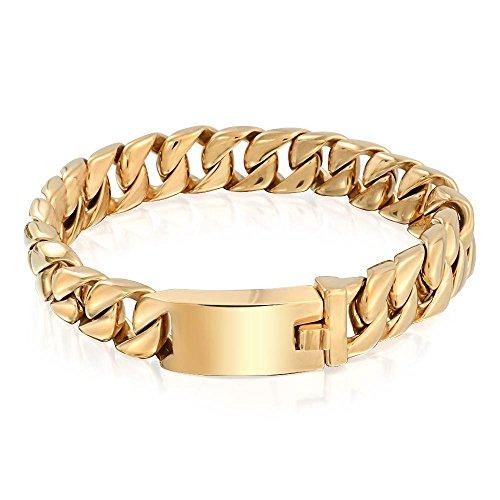 Bling Jewelry Pulsera de Cadena de bordillo Cubano sólido Grande para Hombres Pulido Oro Chapado Acero Inoxidable 12MM