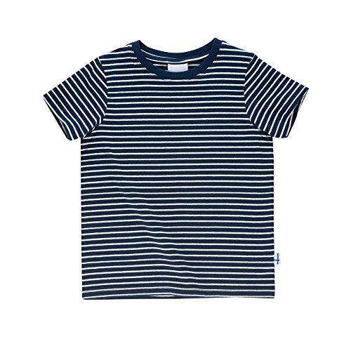 Finkid Supi Gestreift-Blau, Kinder Kurzarm-Shirt, Größe 130-140 - Farbe Navy - Offwhite