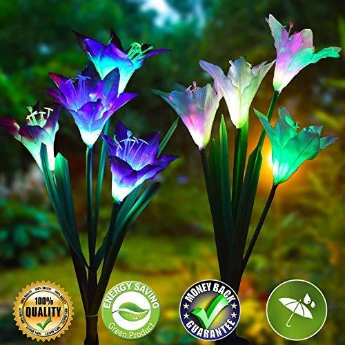 Solar Lights Outdoor Decorative Garden Solar Lights Outdoor Solar Garden Stake Lights 2 Pack Outdoor Garden Solar Lights with 8 Lily Flowers Multi-Color Changing Waterproof LED Solar Flower Light