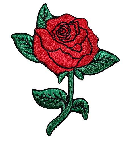 Floral rosa/Sew de hierro en parche bordado Applique bordado diseño d