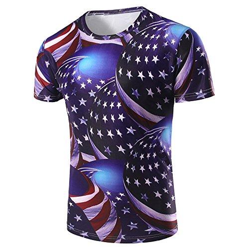 Mens Flag 3D Tees Shirt Short Sleeve American Flag Printed Blouse 4th of July Tops