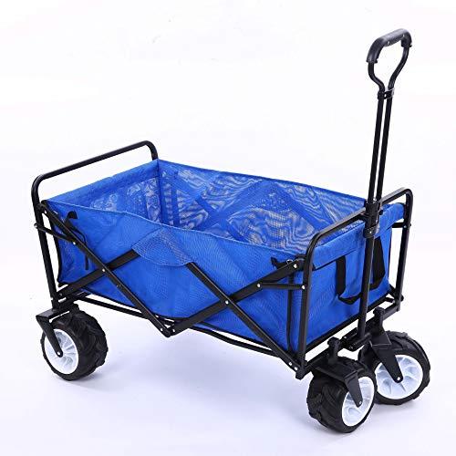Chariot charrette remorque de Jardin Transport à Main en métal Charge maximale de 300 kg Robuste Montage Simple et Rapide avec bâche et Parties latérales Amovibles(blueA)
