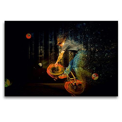 """Premium Textil-Leinwand 120 x 80 cm Quer-Format BMX My Life\""""Billard\""""   Wandbild, HD-Bild auf Keilrahmen, Fertigbild auf hochwertigem Vlies, Leinwanddruck von Dirk Meutzner"""
