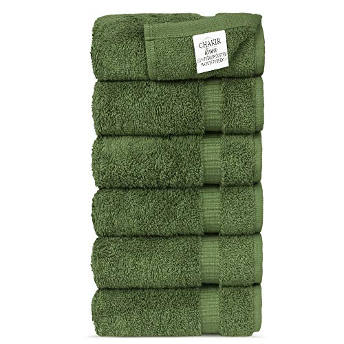 Chakir Turkish Linens Hotel & Spa Quality, Highly Absorbent 100% Cotton Hand Towels (6 Pack, Moss)