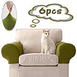 Ezoon Quadratischer Sofa-Schonbezug, Schonbezug, Leder, Zweisitzer, Couch, Armlehnenbezug, breiter Stretch, Liegesessel, Armlehnenschutz, Gartenmöbel, Stuhlbezug, Katze, Hund, grün, 6 Stück