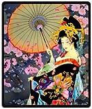 HommomH 60' x 80' Blanket Comfort Warmth Soft Cozy Air Conditioning Easy Care Machine Wash Japanese Art Geisha Girl