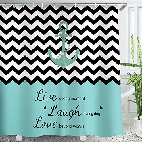 LIVILAN Anchor Shower Curtain,Chevron Zigzag Live Laugh Love Shower Curtain,Sailing Nautical Shower Curtain Fabric, Striped Shower Curtain with Hooks,Teal Black and White Shower Curtain,72X84