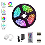 LED Strip Lights,SFOUR RGB Light Strips with Waterproof 16.4FT/5M 44Key, Color Changing LED Strip Lights with Remote for Home Lighting Kitchen Bed Flexible Strip Lights for Bar Home Decoration