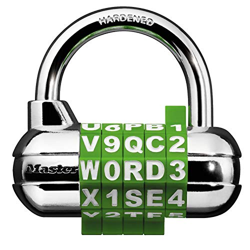 Master Lock 1534D Locker Lock Set Your Own Word Combination Padlock, 1 Pack, Assorted Colors