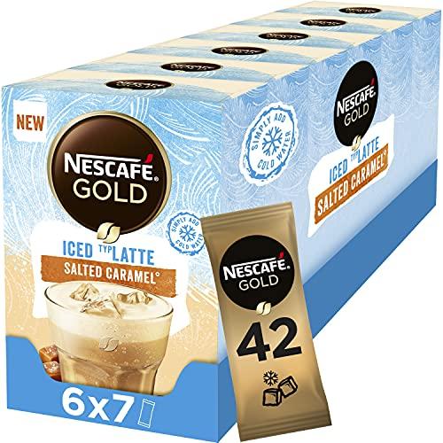 Nescafé Gold Ice Salted Caramel oploskoffie – 6 doosjes à 7 zakjes