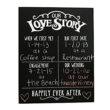JennyGems Our Love Story Chalkboard - First Met - First Date - Engagement Party - Wedding - Happily Ever After - Photo Shoot Prop - Dry Chalkboard Use With Actual Dry Chalk - Do Not Use Liquid Chalk