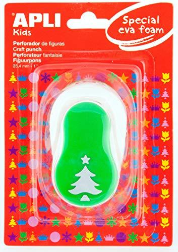 APLI Kids 13303-Perforadora papel y goma EVA árbol Navidad 25,4 mm