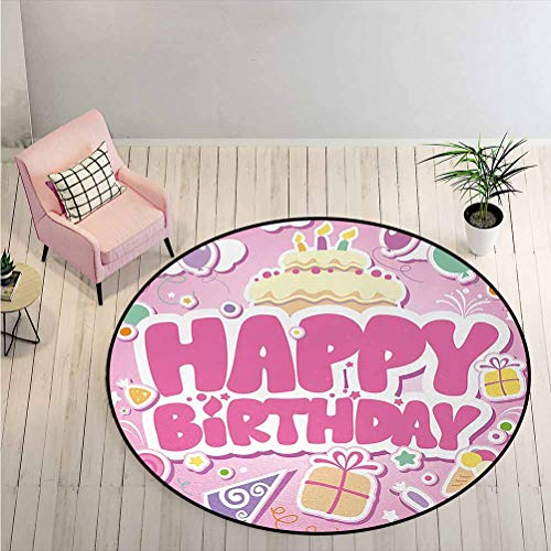 Round Rug Cartoon Seem Party Image Balloons Boxes Clouds Cake Celebration Image Print Children's Fun Area Rug for Kitchen, Home Decoration Light Pink Diameter - 6.5 Feet