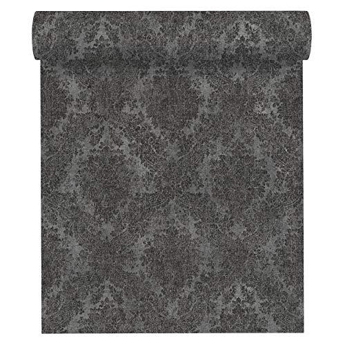 A.S. Création Vliestapete Secret Garden Tapete mit Ornamenten barock 10,05 m x 0,53 m grau metallic schwarz Made in Germany 336078 33607-8