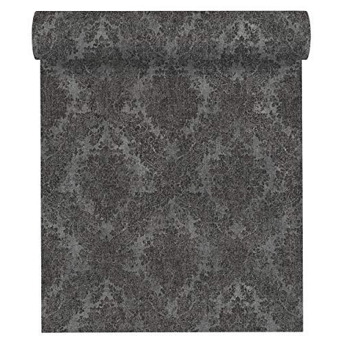 A.S. Création Vliestapete Secret Garden Tapete neo-barock 10,05 m x 0,53 m grau metallic schwarz Made in Germany 336078 33607-8