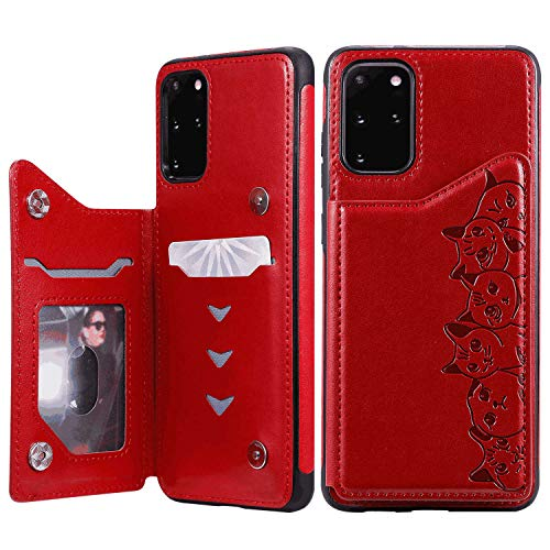Stylish Cover Compatible with Samsung Galaxy A50, red Leather Flip Case Wallet for Samsung Galaxy A50