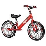 Bicicleta Sin Pedales Bici Rojo Bicicleta De Equilibrio De Entrenamiento Acrobático Con Neumáticos De Goma Y Reposapiés, Bicicleta De Equilibrio Sin Pedal Para Niños Grandes, Regalos Para Niños Y Niña