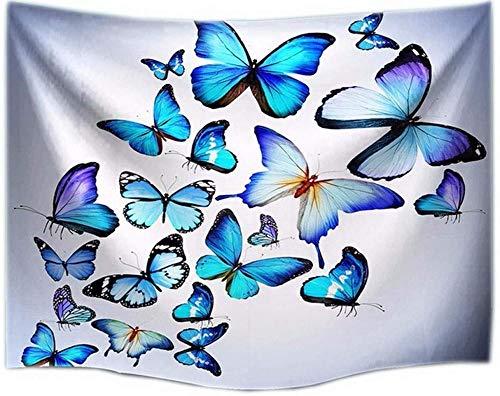 A-Generic Tapisserie Wandtuch 3D Blue Butterflies Set Stoff Tapisserie Mandala Wandbehang Wanddekoration Wandkunst Wandbilder 102x153cm-130cm(Höhe) x153cm(Breite)
