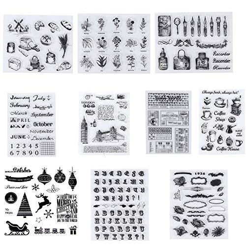 10 Piezas Sellos Transparentes, Silicona Sello,Transparente Álbum de Álbumes de Recortes para Manualidades Scrapbooking,Fotos Decoración,Postales de Recortes