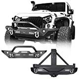 Hooke Road Jeep Wrangler Rear Bumper with Spare Tire Carrier and Front Bumper Combo for Jeep Wrangler JK 2007-2018