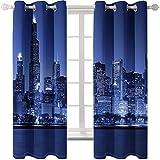 AMDXD 2 Paneles Cortina Poliester, Cortinas de Ventanas de Salon Vista Nocturna de Ciudad Cortinas Decoradas, Azul Oscuro, 214x115CM