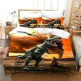 Proxiceen Juego de cama Jurassic World · Funda nórdica y funda de almohada de microfibra, para adolescentes, cama...