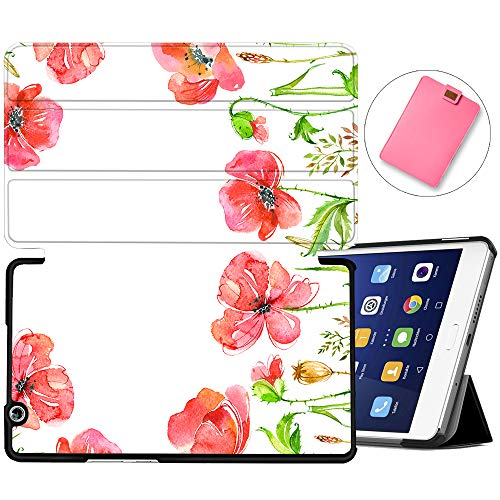 MAITTAO Stand Cover for Huawei MediaPad M3 8.4 Case BTV-W09/BTV-DL09, Slim Leather Folio Smart-Shell with Auto Wake/Sleep for MediaPad M3 8.4 inch 2016 Release Android Tablet, Flowers & Leafs 22