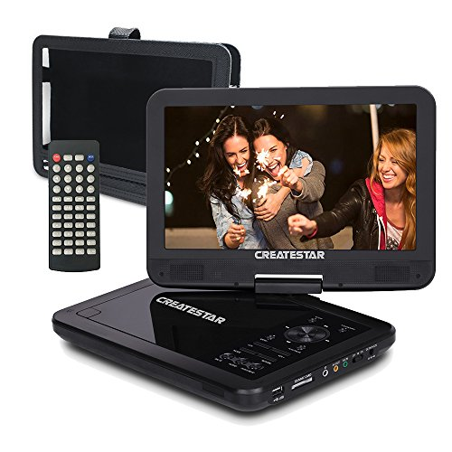 Portable DVD Player CD Player VCD Player MP3 Player JPEG Reader with 270°Large Swivel Screen USB/SD Card Reader to Watch Movies in The Car