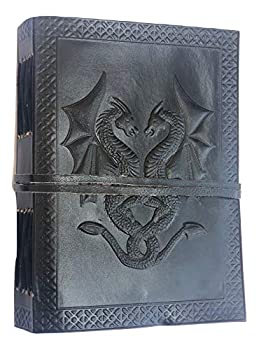Handmade Vintage Leather Double Dragon Bound Journal Notebook Diary Sketchbook Travel Office Thought Blank Book Best Gift for Men & Women  Black 75