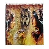 alaza Lobo y Eagle Cortina de Ducha de la India 72 x 72 Pulgadas, Resistente al Moho y de...