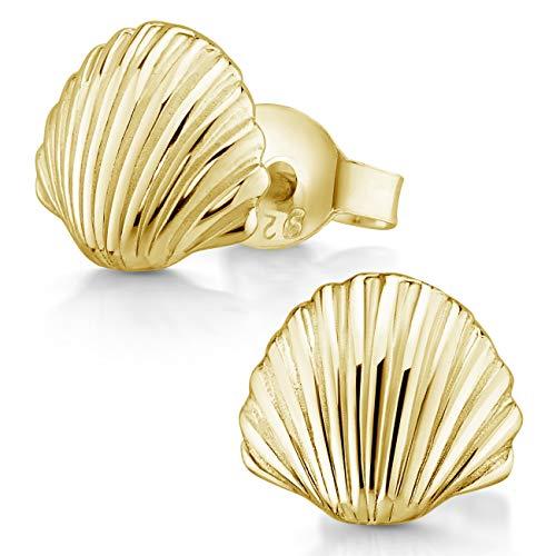 MATERIA - Set di orecchini a forma di conchiglia marittimo, gioielli da spiaggia – Piccoli orecchini in argento 925, oro rosa a scelta e Placcato oro, colore: gold, cod. SO-415-MA
