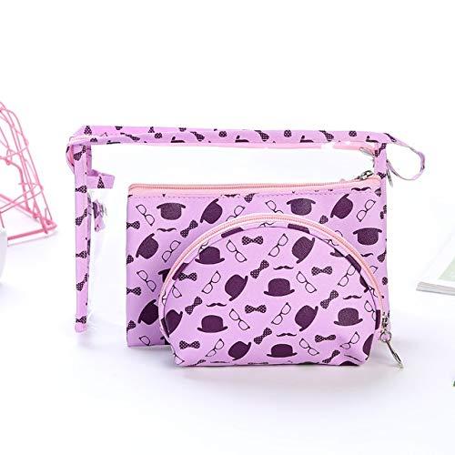 3PCS / Set Fashion Marque cosmétiques Sacs Waterproof Portable Trousse Femmes PVC Sac Voyage Sac de Toilette (Color : Purple)