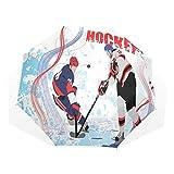 LASINSU Paraguas Resistente a la Intemperie,Dos Jugadores de Hockey sobre Hielo en Estilo de Dibujos Animados Grunge Resumen Pista de Patinaje telón de Fondo,Fitness Entrenamiento Fuerte Grunge Print