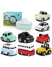Tagitary ミニカーおもちゃ 子供用おもちゃ 定番玩具 子供飛びつくおもちゃ マップ、収納ボックス付き ぜんまい式 8個セット コレクション キッズおもちゃ プレゼント