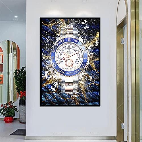 HUANGXLL Reloj de Arte de Pared Inspirador Cartel Abstracto Arte de Pared imprimible, Lienzo de habitación Modular HD Pintura decoración del hogar-60x90cm-sin Marco