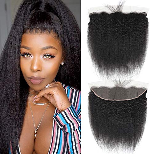 13 * 4zoll Lace Frontal Closure Kinky Gerade/Straight Brasilianisch Virgin Echthaar 100% Free Part 12zoll/30cm Lange Naturschwarz 1B