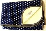 Babydecke - STERNE AUF BLAU - mit Schrägband - 100 x 70 cm - Baumwolle und Fleece - personalisierbar - Kuscheldecke/Krabbel-Decke - Geschenk Geburt Taufe Kindergarten Geburtstag