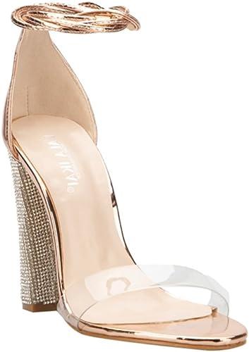 Femmes Sandales Cheville Strap Escarpins Super Talons CarréS Talons Dame Chaussures