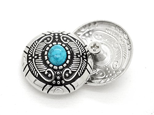 CRAFTMEmore Decorative Concho Feather Faux Turquoise Flower Navajo Wallet Indian Charm Screw Back Buttons Leather Craft 1 1/8 Inches 2PCS CHS56 (Silver)