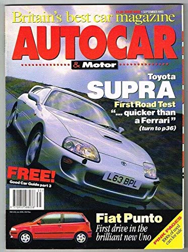 Autocar and Motor Magazine 1 September 1993 MBox1714 Toyota Supra - Fiat...