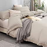 Nankusa Duvet Cover King Size, 100% Washed Microfiber 3 Pieces Tassel Bedding Set, Ultra Soft and Breathable Fringed Comforter Cover with Zipper Closure & Corner Ties (Khaki, King)