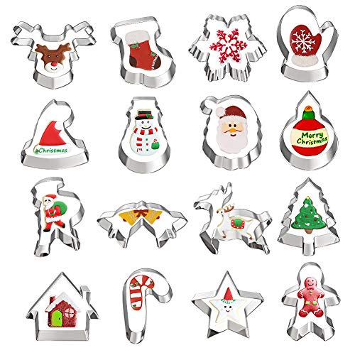 Christmas Cookie Cutters, Hibery 16 Pcs Holiday Cookie Cutters Christmas, Reindeer, Snowflake, Christmas Tree, Gingerbread Man, Santa, Bell & More Cookie Cutters Christmas Shapes
