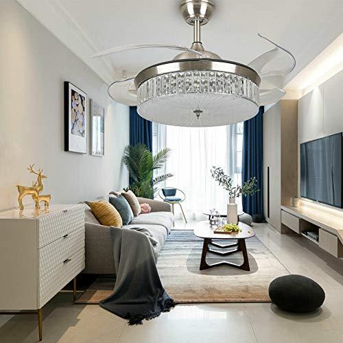 Lámpara de techo LED con mando a distancia de 100 cm, ventilador de techo con iluminación