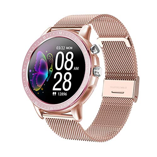 Moda Smart Watch Mujeres Full Touch Impermeable Modo Multi-Sports Mode Pedómetro Tasa del Corazón SmartWatch Pulsera De La Aptitud para Señora (Color : Mesh Rosegold)