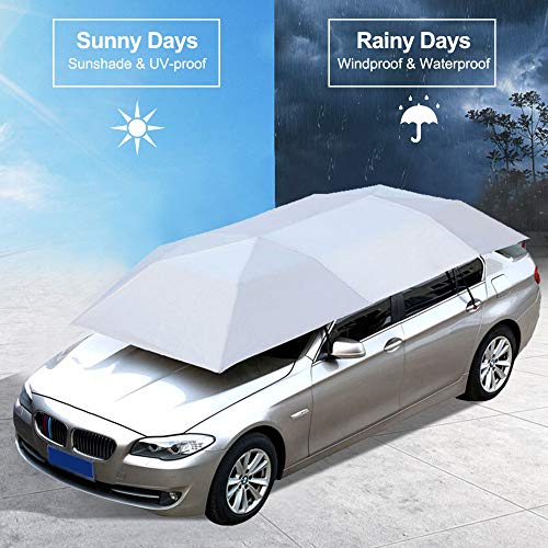 Dream House Car Sunshade Tent Movable Carport Portable Automobile Protection Umbrella with Anti-UV Waterproof Winter Anti-Snow Frost Ice Guard (Manual, Silver)