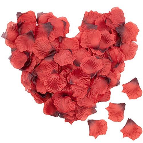 Lawei 4000 pétalos de rosa de seda artificiales, pétalos de rosa para boda, fiesta, hogar, hotel, decoración del día de San Valentín, color rojo vino