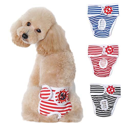 ABCD Paquete De 3 Ropa Interior para Perros Y Mascotas, Pantalones Sanitarios para Perros Y Mascotas, Bragas Menstruales, Pañales Fisiológicos, Bragas Anti-molestias, L